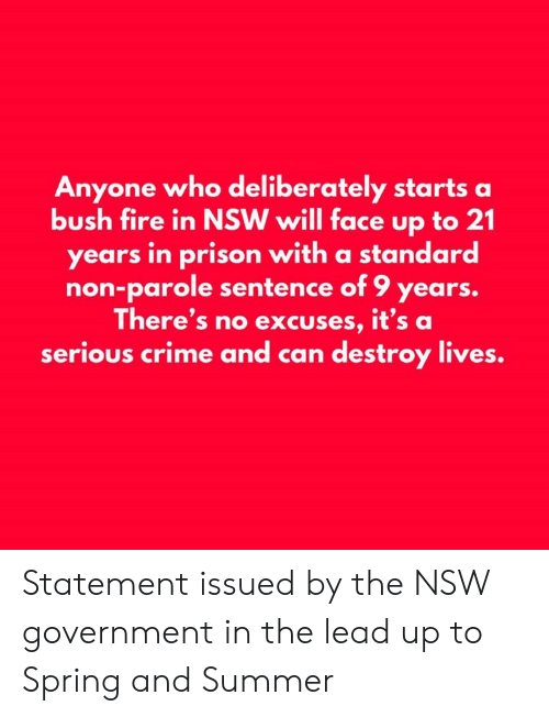 Crime, Fire, and Memes: Anyone who deliberately starts a  bush fire in NSW will face up to 21  years in prison with a standard  non-parole sentence of 9 years.  There's no excuses, it's a  serious crime and can destroy lives. Statement issued by the NSW government in the lead up to Spring and Summer
