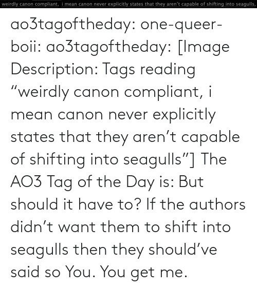 """tags: ao3tagoftheday:  one-queer-boii:  ao3tagoftheday:  [Image Description: Tags reading """"weirdly canon compliant, i mean canon never explicitly states that they aren't capable of shifting into seagulls""""]  The AO3 Tag of the Day is: But should it have to?   If the authors didn't want them to shift into seagulls then they should've said so  You. You get me."""