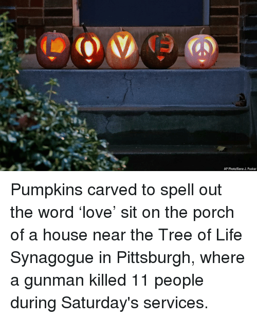 Life, Memes, and House: AP Photo/Gene J. Puskar Pumpkins carved to spell out the word 'love' sit on the porch of a house near the Tree of Life Synagogue in Pittsburgh, where a gunman killed 11 people during Saturday's services.
