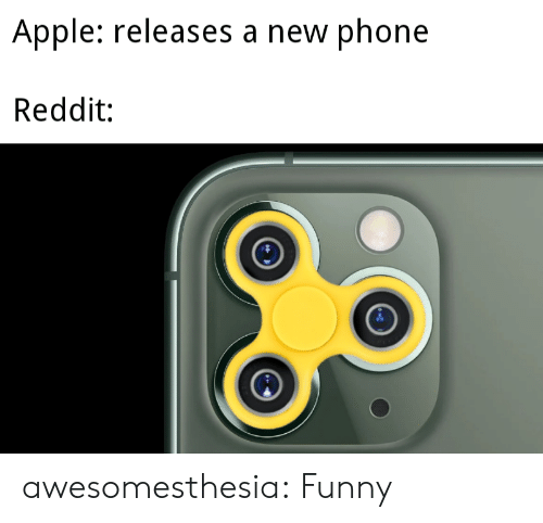 Apple, Funny, and Phone: Apple: releases a new phone  Reddit: awesomesthesia:  Funny