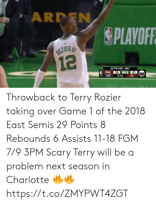 3Pm: ARDEN  PLAVOFR  EASTERN SENIS BANE  13  21  1ST3:1424 Throwback to Terry Rozier taking over Game 1 of the 2018 East Semis  29 Points 8 Rebounds 6 Assists 11-18 FGM 7/9 3PM  Scary Terry will be a problem next season in Charlotte 🔥🔥 https://t.co/ZMYPWT4ZGT