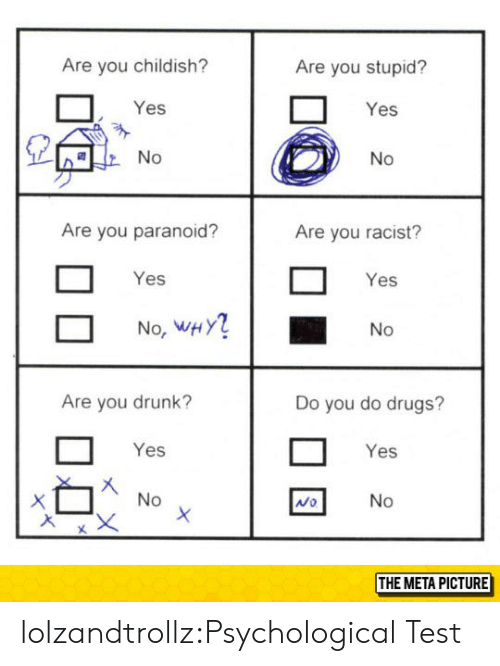 Childish: Are you childish?  Are you stupid?  Yes  Yes  Are you paranoid?  Are you racist?  Yes  Yes  No, WHY  No  Are you drunk?  Do you do drugs?  Yes  Yes  Mo  THE META PICTURE lolzandtrollz:Psychological Test