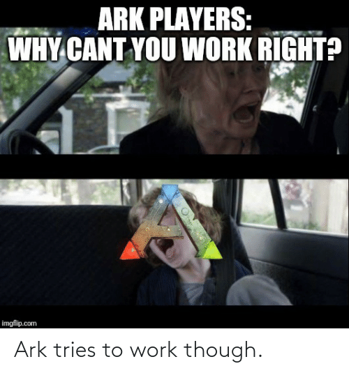 Work, Ark, and Com: ARK PLAYERS:  WHY CANT YOU WORK RIGHT?  imgflip.com Ark tries to work though.