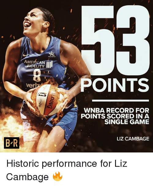 WNBA (Womens National Basketball Association): ARLINGON  AMERICAN  FIDELITY  POINTS  veri  WNBA RECORD FOR  POINTS SCORED IN A  SINGLE GAME  LIZ CAMBAGE  B R Historic performance for Liz Cambage 🔥
