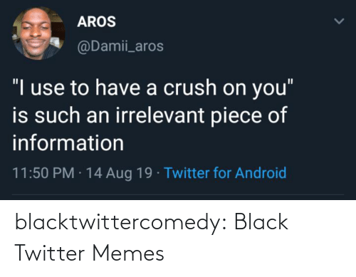 """Information: AROS  @Damii_aros  """"I use to have a crush on you""""  is such an irrelevant piece of  information  11:50 PM · 14 Aug 19 · Twitter for Android blacktwittercomedy:  Black Twitter Memes"""