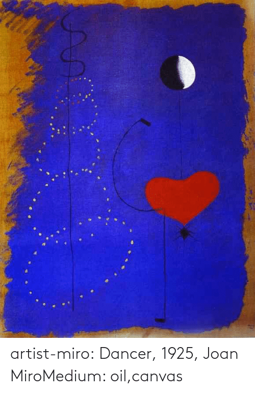 Canvas: artist-miro:  Dancer, 1925, Joan MiroMedium: oil,canvas