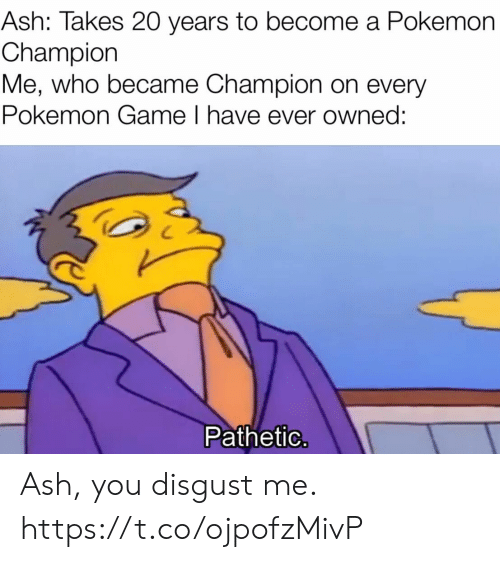 Ash: Ash: Takes 20 years to become a Pokemon  Champion  Me, who became Champion on every  Pokemon Game I have ever owned:  Pathetic. Ash, you disgust me. https://t.co/ojpofzMivP