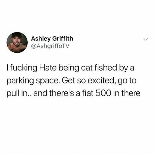 Fiat: Ashley Griffith  @AshgriffoTV  I fucking Hate being cat fished by a  parking space. Get so excited, go to  pull in.. and there's a fiat 500 in there