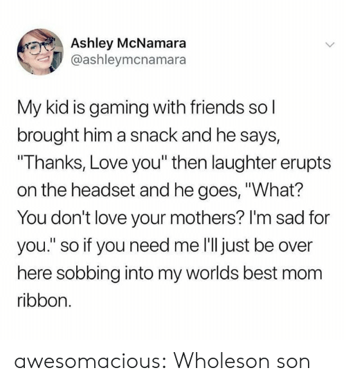 """Friends, Love, and Tumblr: Ashley McNamara  @ashleymcnamara  My kid is gaming with friends sol  brought him a snack and he says,  """"Thanks, Love you"""" then laughter erupts  on the headset and he goes, """"What?  You don't love your mothers? I'm sad for  you."""" so if you need me 'll just be over  here sobbing into my worlds best mom  ribbon. awesomacious:  Wholeson son"""