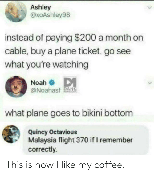 Dank, Bikini Bottom, and Noah: Ashley  @xoAshley98  instead of paying $200 a month on  cable, buy a plane ticket. go see  what you're watching  Noah  @Noahasf DANK  what plane goes to bikini bottom  Quincy Octavious  Malaysia flight 370 if I remember  correctly. This is how I like my coffee.