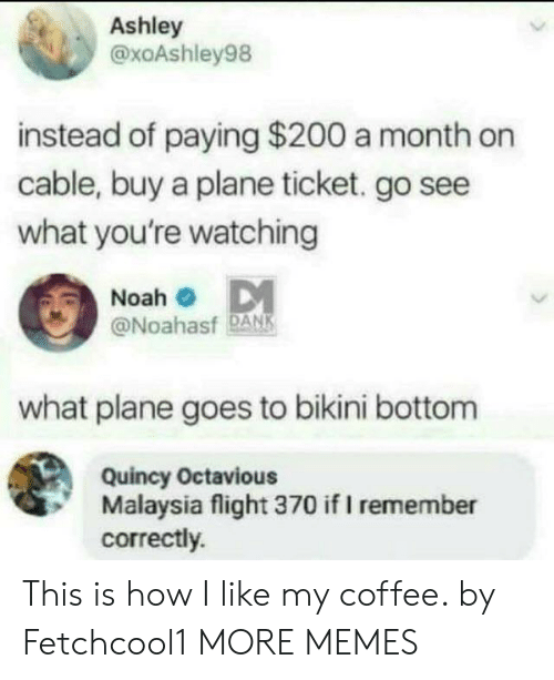 Dank, Memes, and Target: Ashley  @xoAshley98  instead of paying $200 a month on  cable, buy a plane ticket. go see  what you're watching  Noah  @Noahasf DANK  what plane goes to bikini bottom  Quincy Octavious  Malaysia flight 370 if I remember  correctly. This is how I like my coffee. by Fetchcool1 MORE MEMES