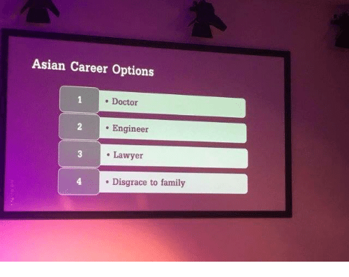 Asian, Doctor, and Family: Asian Career Options  . Doctor  Engineer  . Lawyer  e Disgrace to family