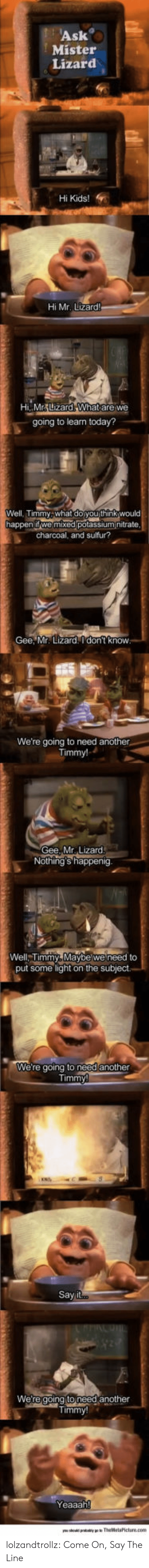 Tumblr, Blog, and Kids: Ask  Mister  Lizard  Hi Kids!  Hi Mr. Lizard  Hi,MrLizard What are we  going to learn today?  Well, Timmy what doyou think would  happen ifwe mixed potassium itrate.  charcoal, and sulfur?  Gee, Mr. Lizard. I don't know.  We're going to need another  Timmy!  Gee, Mr. Lizard.  Nothing's happenig.  Well, Timmy, Maybe we need to  put some light on the subject  We're going to need another  Say i  Were going to need another  Timmy  Yeaaah! lolzandtrollz:  Come On, Say The Line