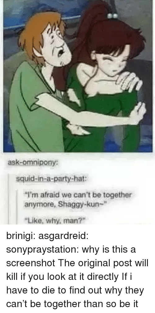 """Party, Tumblr, and Blog: ask-omnipony:  squid-in-a-party-hat:  """"I'm afraid we can't be together  anymore, Shaggy-kun-""""  Like, why, man?"""" brinigi: asgardreid:  sonypraystation:  why is this a screenshot   The original post will kill if you look at it directly  If i have to die to find out why they can't be together than so be it"""