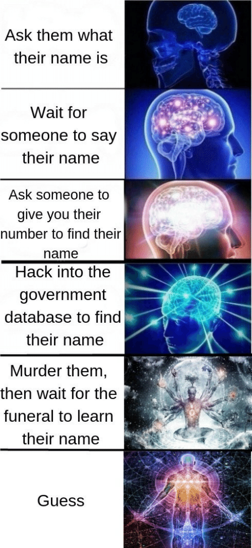 Guess, Government, and Murder: Ask them what  their name is  Wait for  someone to say  their name  Ask someone to  give you their  number to find their  name  Hack into the  government  database to find  their name  Murder them  then wait for the  funeral to learn  their name  Guess