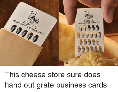 Business, Box, and Cheese: At  41 3013 7753  MERCADO MUNICIPAL DE CURITIBA, BOX $S  90999  41 3013 7753  MERCADO MUNICIPAL DE CURITIBA, BOX 56  0009 This cheese store sure does hand out grate business cards