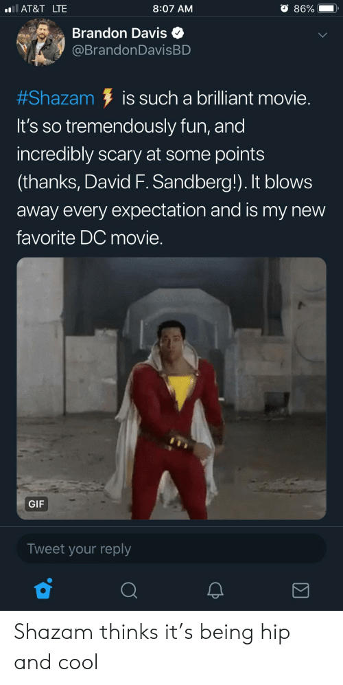 Gif, Shazam, and At&t: AT&T LTE  8:07 AM  86%  e Brandon Davis  @BrandonDavisBD  #Shazam is such a brilliant movie  It's so tremendously fun, and  incredibly scary at some points  (thanks, David F. Sandberg!). It blows  away every expectation and is my new  favorite DC movie.  GIF  Tweet your reply Shazam thinks it's being hip and cool
