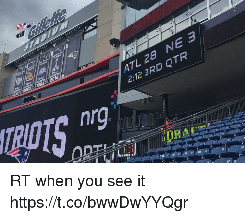 Memes, When You See It, and 🤖: ATL 2B NE 3  2:12 3RD QTR  nrg RT when you see it https://t.co/bwwDwYYQgr