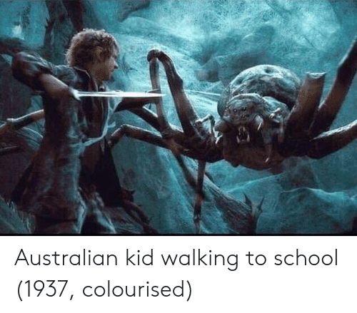 School, Australian, and Kid: Australian kid walking to school (1937, colourised)