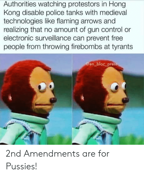 tanks: Authorities watching protestors in Hong  Kong disable police tanks with medieval  technologies like flaming arrows and  realizing that no amount of gun control or  electronic surveillance can prevent free  people from throwing firebombs at tyrants  @en_bloc_press 2nd Amendments are for Pussies!