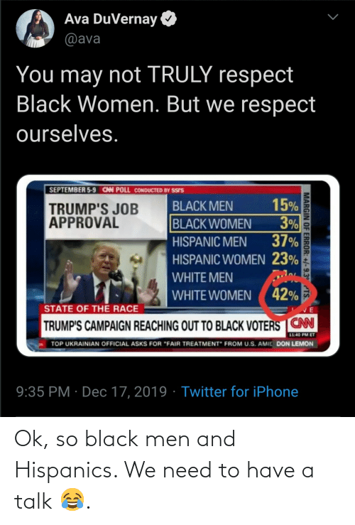 "Reaching: Ava DuVernay  @ava  You may not TRULY respect  Black Women. But we respect  ourselves.  SEPTEMBER 5-9 CAN POLL CONDUCTED BY SSIS  15%  3%  37%  BLACK MEN  TRUMP'S JOB  APPROVAL  BLACK WOMEN  HISPANIC MEN  HISPANIC WOMEN 23%  WHITE MEN  WHITE WOMEN ( 42%  STATE OF THE RACE  TRUMP'S CAMPAIGN REACHING OUT TO BLACK VOTERS CN  11:40 PM ET  TOP UKRAINIAN OFFICIAL ASKS FOR ""FAIR TREATMENT"" FROM U.S. AMIC DON LEMON  9:35 PM · Dec 17, 2019 · Twitter for iPhone  MARGIN OF ERROR: +/-9.3° TS. Ok, so black men and Hispanics. We need to have a talk 😂."