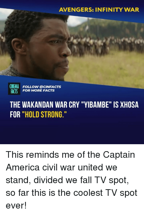 """America, Captain America: Civil War, and Facts: AVENGERS: INFINITY WAR  CINEMA FOLLOW @cINFACTS  ACTS FOR MORE FACTS  THE WAKANDAN WAR CRY """"YIBAMBE"""" IS XHOSA  FOR """"HOLD STRONG This reminds me of the Captain America civil war united we stand, divided we fall TV spot, so far this is the coolest TV spot ever!"""