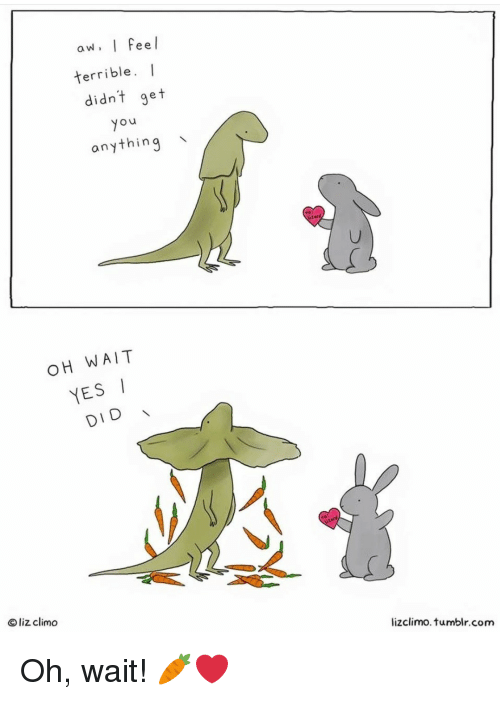 Tumblr, Yo, and Com: aw. I Feel  terrible. I  didnt get  yo  anything  OH WAIT  YESI  DID  O liz climo  lizclimo. tumblr.com Oh, wait! 🥕❤