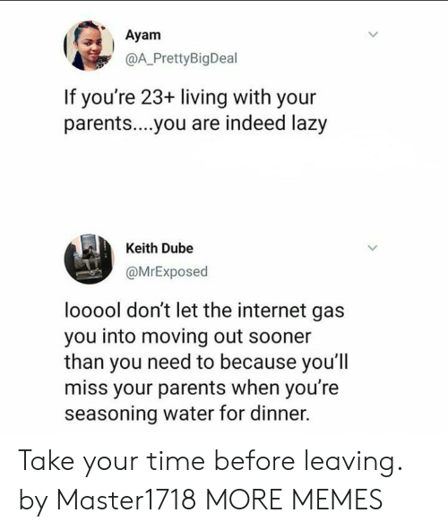 Dank, Internet, and Lazy: Ayam  @A PrettyBigDeal  If you're 23+ living with your  parents....you are indeed lazy  Keith Dube  @MrExposed  looool don't let the internet gas  you into moving out sooner  than you need to because you'll  miss your parents when you're  seasoning water for dinner. Take your time before leaving. by Master1718 MORE MEMES
