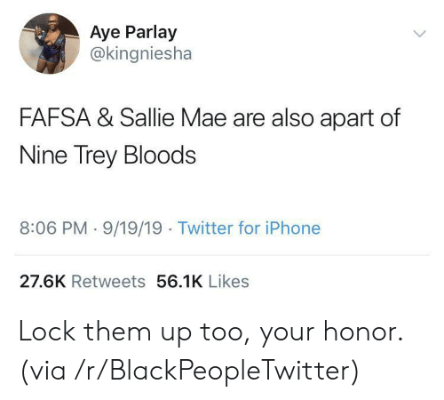 FAFSA: Aye Parlay  @kingniesha  FAFSA & Sallie Mae are also apart of  Nine Trey Bloods  8:06 PM 9/19/19 Twitter for iPhone  27.6K Retweets 56.1K Likes Lock them up too, your honor. (via /r/BlackPeopleTwitter)