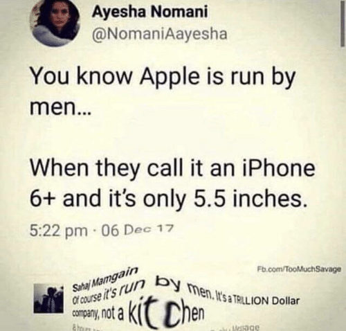 fb.com: Ayesha Nomani  @NomaniAayesha  You know Apple is run by  men...  When they call it an iPhone  6+ and it's only 5.5 inches.  5:22 pm 06 Dec 17  Sha Mamgain  Of course it's r men. It's TRILL ION Dollar  Fb.com/fooMuchSavage  Chen  uesage