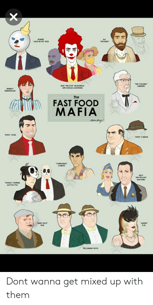 """Fast Food, Food, and Jack in the Box: B.K.  THE KING  ROBERT  JACK IN THE BOX  THE COLONEL  RON THE DON McDONALD  with Grimace and Birdie  WENDY  GWENDOLEN  FAST FOOD  MAFIA  PAPA"""" JOHN  LITTLE CAESAR  THE TROJAN  and Katle  PANDA CHERNG  and Pan-Pan  BABY FACE""""  BOB  QUEEN  D.Q.  THE SUBWAY BOYS Dont wanna get mixed up with them"""