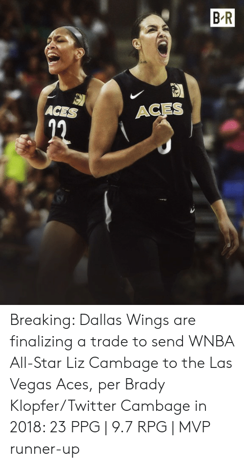 All Star, Twitter, and Las Vegas: B R  ACES  ACES Breaking: Dallas Wings are finalizing a trade to send WNBA All-Star Liz Cambage to the Las Vegas Aces, per Brady Klopfer/Twitter  Cambage in 2018: 23 PPG | 9.7 RPG | MVP runner-up