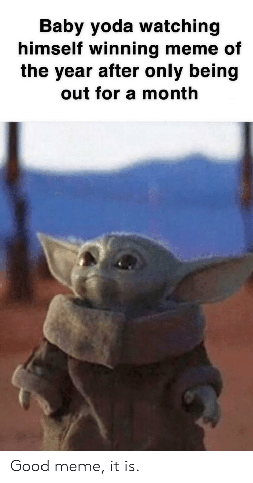 Meme Of: Baby yoda watching  himself winning meme of  the year after only being  out for a month Good meme, it is.