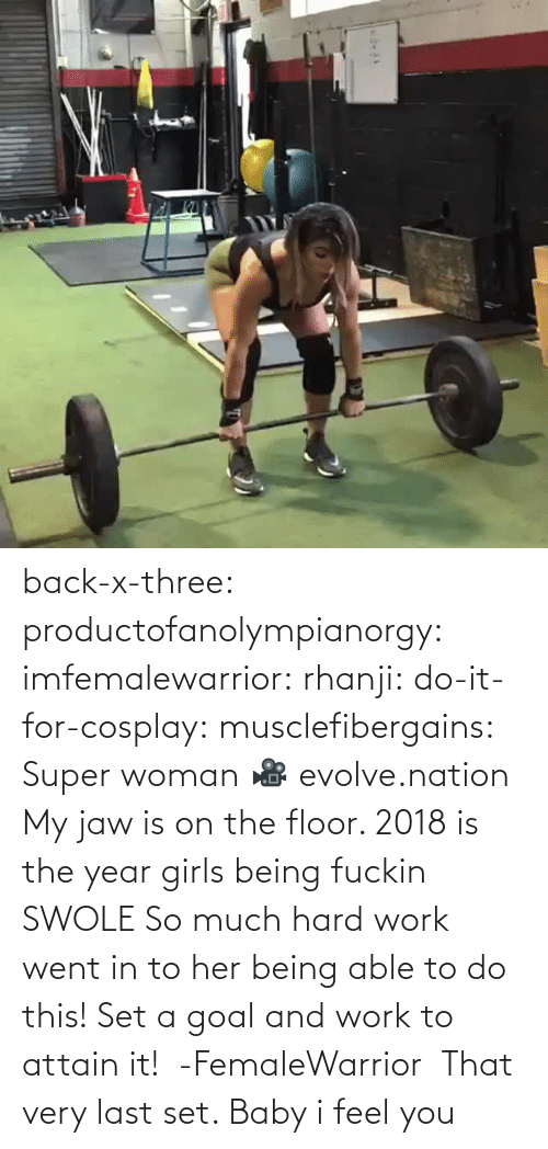 Goal: back-x-three:  productofanolympianorgy:  imfemalewarrior:  rhanji:  do-it-for-cosplay:  musclefibergains:   Super woman 🎥 evolve.nation  My jaw is on the floor.    2018 is the year girls being fuckin SWOLE   So much hard work went in to her being able to do this! Set a goal and work to attain it!  -FemaleWarrior      That very last set. Baby i feel you