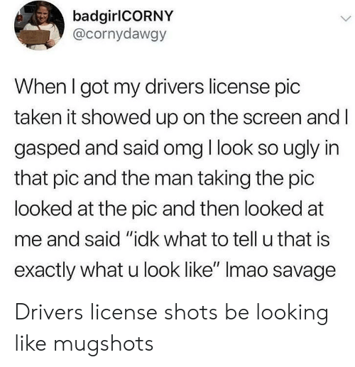 """Omg, Savage, and Taken: badgirlCORNY  @cornydawgy  When I got my drivers license pic  taken it showed up on the screen and l  gasped and said omg I look so ugly in  that pic and the man taking the pic  looked at the pic and then looked at  me and said """"idk what to tell u that is  exactly what u look like"""" Imao savage Drivers license shots be looking like mugshots"""