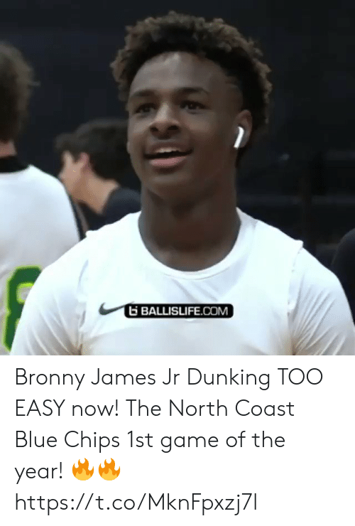 Memes, Blue, and Game: BALLISLIFE.COM Bronny James Jr Dunking TOO EASY now! The North Coast Blue Chips 1st game of the year! 🔥🔥 https://t.co/MknFpxzj7l