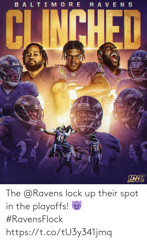 Ravens: BALTI MORE RAVENS  CJINCHED  RLAVE  RAVENS  RAVENS  494  RAVENS  WILLANS  RAVENS  56  RAVE The @Ravens lock up their spot in the playoffs! 😈 #RavensFlock https://t.co/tU3y341jmq