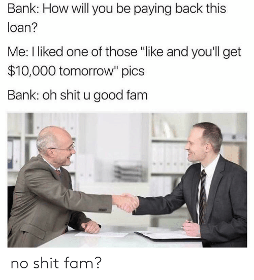 "I Liked: Bank: How will you be paying back this  loan?  Me: I liked one of those ""like and you'll get  $10,000 tomorrow"" pics  Bank: oh shit u good fam no shit fam?"