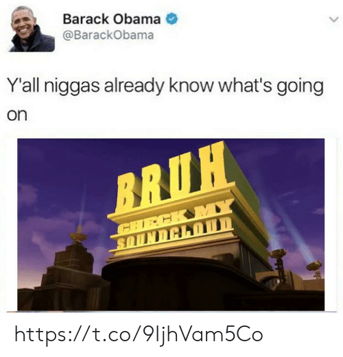 Obama, Barack Obama, and Whats: Barack Obama  @BarackObama  Y'all niggas already know what's going  on https://t.co/9IjhVam5Co