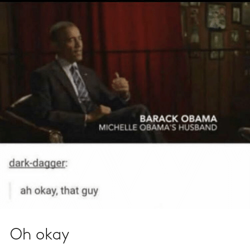 Barack Obama: BARACK OBAMA  MICHELLE OBAMA'S HUSBAND  dark-dagger:  ah okay, that guy Oh okay