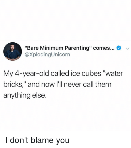 "Funny, Water, and Old: ""Bare Minimum Parenting"" comes... *  @XplodingUnicorn  My 4-vear-old called ice cubes ""water  bricks,"" and now I'll never call them  anything else. I don't blame you"