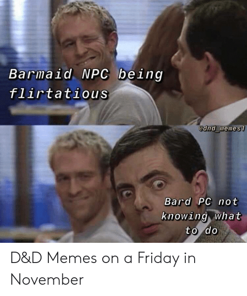 What To Do: Barmaid NPC being  flirtatious  @dnd memes1  Bard PC not  knowing what  to do D&D Memes on a Friday in November
