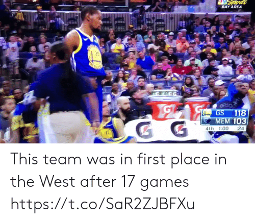 mem: BAY AREA  35  GS 118  MEM 103  4th 1:00 24 This team was in first place in the West after 17 games https://t.co/SaR2ZJBFXu