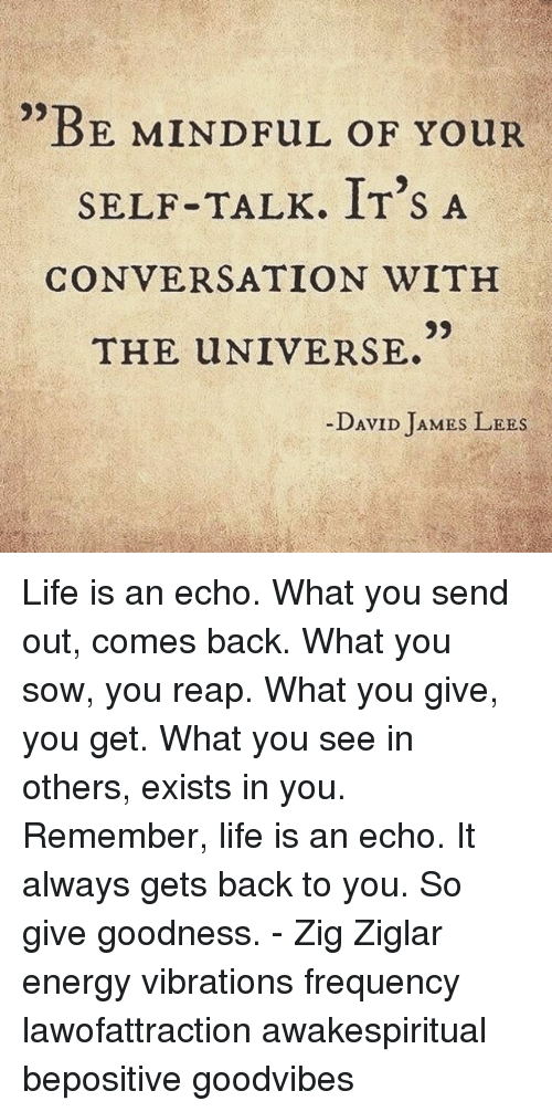 Energy, Life, and Memes: BE MINDFUL OF YouR  SELF-TALK. IT'S A  CONVERSATION WITH  9)  THE UNIVERSE.  -DAVID JAMES LEES Life is an echo. What you send out, comes back. What you sow, you reap. What you give, you get. What you see in others, exists in you. Remember, life is an echo. It always gets back to you. So give goodness. - Zig Ziglar energy vibrations frequency lawofattraction awakespiritual bepositive goodvibes