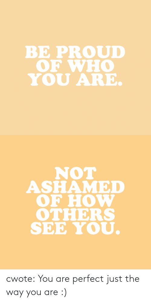 Are Not: BE PROUD  OF WHO  YOU ARE.   NOT  ASHAMED  OF HOW  OTHERS  SEE YOU. cwote:  You are perfect just the way you are :)