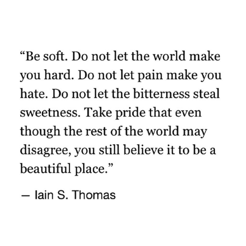 """Beautiful, World, and Pain: """"Be soft. Do not let the world make  you hard. Do not let pain make you  hate. Do not let the bitterness steal  sweetness. Take pride that even  though the rest of the world may  disagree, you still believe it to be a  beautiful place.""""  - lain S. Thomas"""