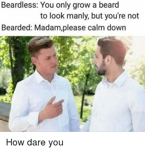 A Beard: Beardless: You only grow a beard  to look manly, but you're not  Bearded: Madam,please calm down How dare you