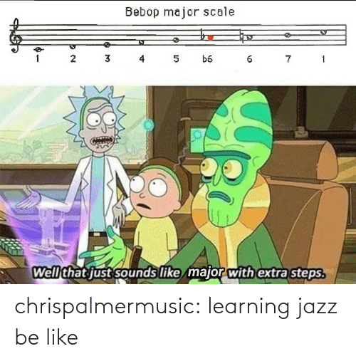 major: Bebop major scale  3 4  7 1  1  5  b6  Well that just sounds like major with extra steps. chrispalmermusic:  learning jazz be like