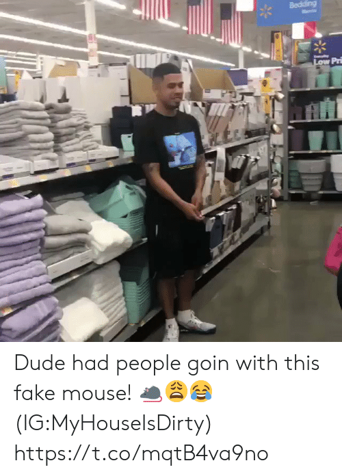 Dude, Fake, and Mouse: Bediding  Low Pr Dude had people goin with this fake mouse! 🐀😩😂 (IG:MyHouseIsDirty) https://t.co/mqtB4va9no