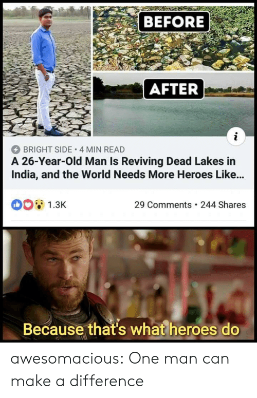 Old Man, Tumblr, and Blog: BEFORE  AFTER  BRIGHT SIDE 4 MIN READ  A 26-Year-Old Man Is Reviving Dead Lakes in  India, and the World Needs More Heroes Like...  1.3K  29 Comments 244 Shares  Because that's what heroes do awesomacious:  One man can make a difference